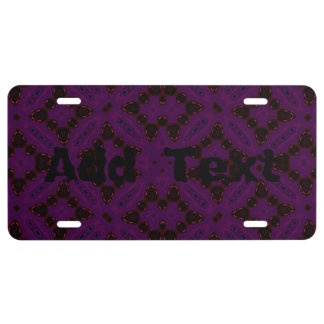Abstract Pattern dark License Plate