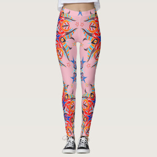 Abstract Pattern Design ( Pale Pink ) Leggings