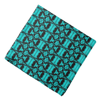 Abstract Pattern Dividers 02 Turquoise Black Bandana