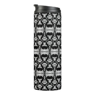Abstract Pattern Dividers 02 White over Black Thermal Tumbler