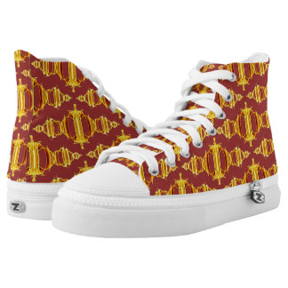 Abstract Pattern Dividers 03 Golden Brown Purple High Tops