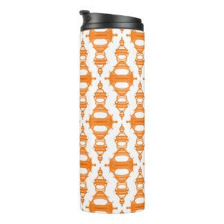 Abstract Pattern Dividers 03 Orange Custom White Thermal Tumbler