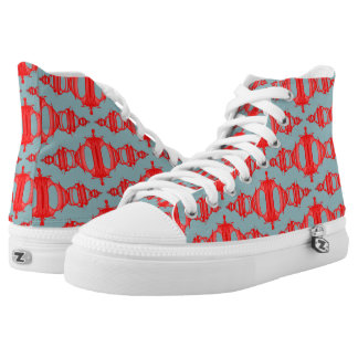 Abstract Pattern Dividers 03 Red over Gray High Tops