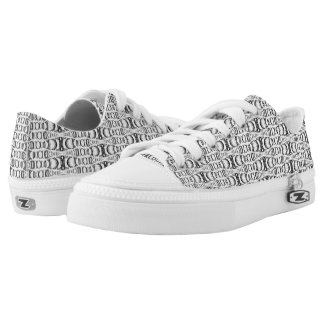 Abstract Pattern Dividers 07 in Black over White Printed Shoes