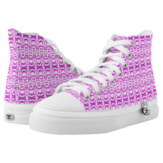 Abstract Pattern Dividers 07 in Purple over White High Tops