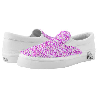 Abstract Pattern Dividers 07 in Purple over White Slip On Shoes