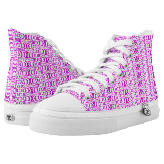 Abstract Pattern Dividers 07 in Purple White Horiz High Tops