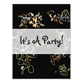 Abstract Pattern in Black and Gold Color. Custom Announcements