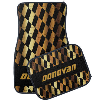 Abstract Pattern in Black & Gold Floor Mat