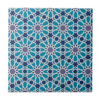 Abstract Pattern In Blue And Grey Ceramic Tile