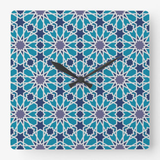 Abstract Pattern In Blue And Grey Square Wall Clock