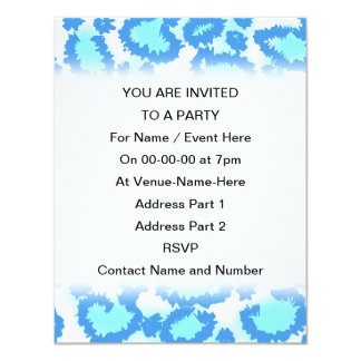 Abstract Pattern in Blue and Turquoise. 11 Cm X 14 Cm Invitation Card