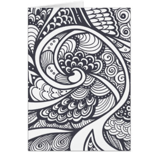 Abstract Pattern In Zen-Doodle Style Card