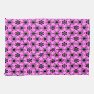 Abstract Pattern Lilac And Dark Gray Background Tea Towel