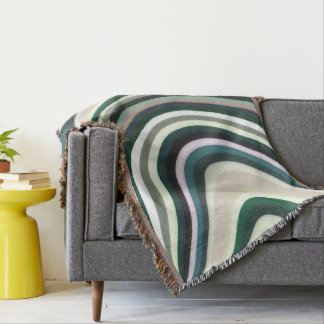 Abstract Pattern Lines Green White And Cream Throw Blanket