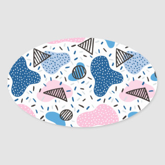 Abstract Pattern Oval Sticker