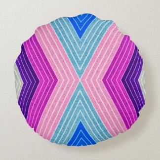 ABSTRACT PATTERN PILLOW, Purple Blue Retro Round Cushion