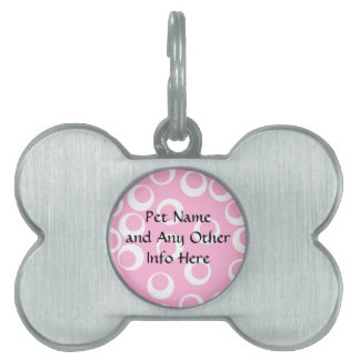 Abstract Pattern. Pink and White. Pet Tag