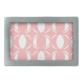 Abstract pattern - pink and white. rectangular belt buckle