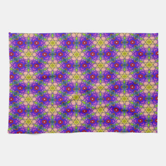 Abstract Pattern Pretty Green Lilac And Red Hand Towel