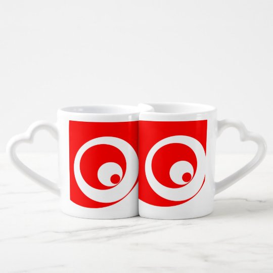Abstract pattern - red and white. coffee mug set