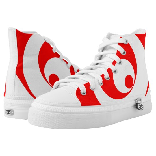 Abstract pattern - red and white. high tops