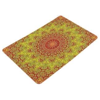 Abstract Pattern Red And Yellow Mosaic Tile Floor Mat