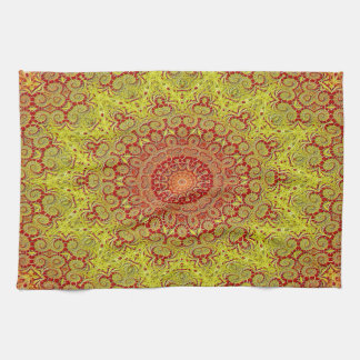 Abstract Pattern Red And Yellow Mosaic Tile Tea Towel