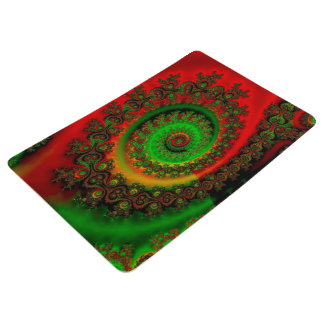 Abstract Pattern Red Green And Yellow Whirl Floor Mat