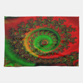 Abstract Pattern Red Green And Yellow Whirl Tea Towels