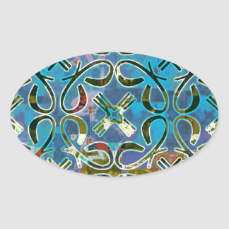 Abstract Pattern Oval Stickers