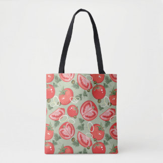 Abstract pattern with tomato tote bag