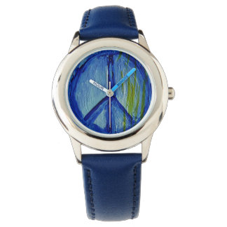 Abstract peace sign art wrist watch