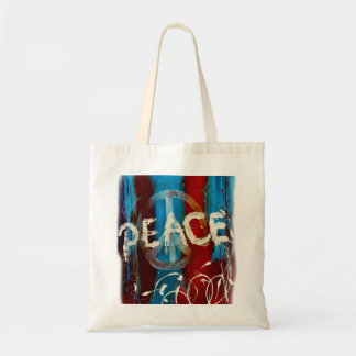 Abstract peace sign budget tote bag