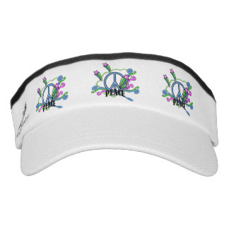 Abstract Peace Sign Stars Scrolls Visor