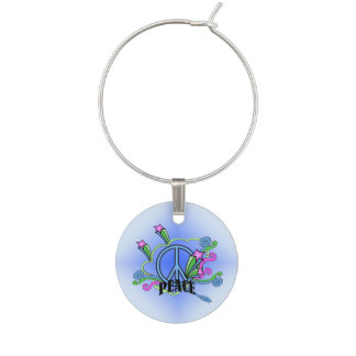 Abstract Peace Sign Stars Scrolls Wine Charm