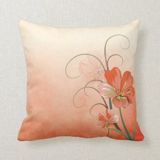 Abstract Peach and Green Floral Throw Cushions