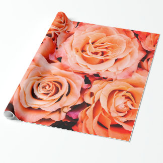 Abstract Peach Color Roses Garden Elegant Floral Wrapping Paper