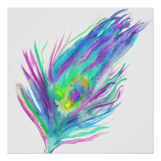Abstract peacock feather bright watercolor paint poster