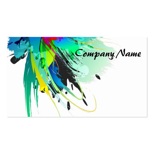 Abstract Peacock Paint Splatters Business Card Template