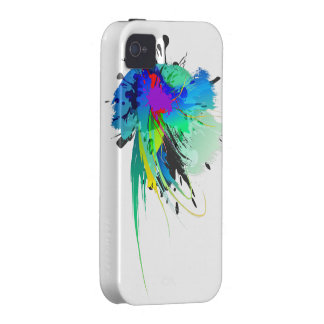 Abstract Peacock Paint Splatters Vibe iPhone 4 Covers