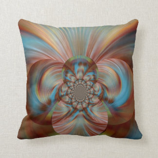 Abstract peacock plumage on throwpillow