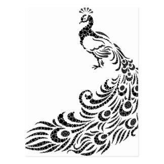 abstract peacock postcard