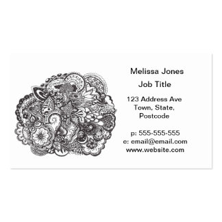 Abstract pen and ink doodle business cards