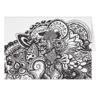 Abstract pen and ink doodle card