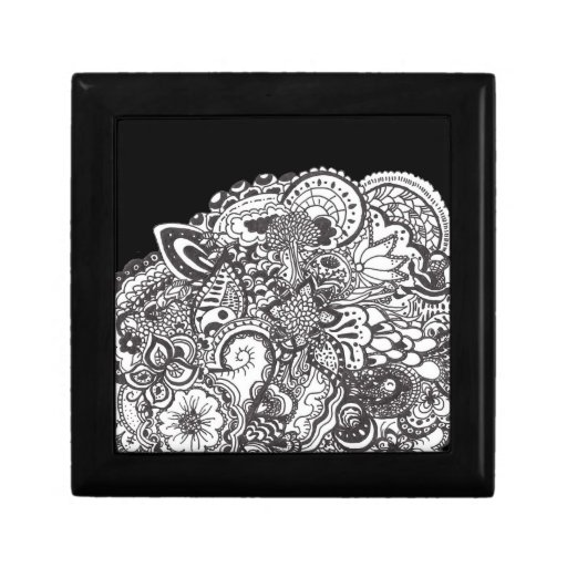 Abstract pen and ink doodle gift box