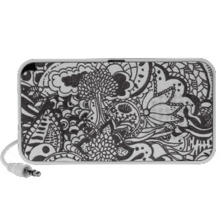 Abstract pen and ink doodle iPod speaker