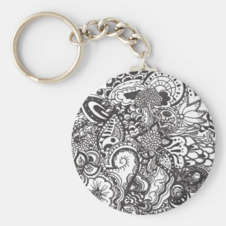 Abstract pen and ink doodle keychain