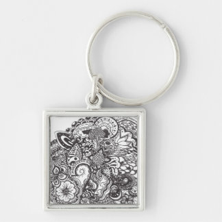 Abstract pen and ink doodle key chains