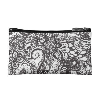 Abstract pen and ink doodle makeup bags